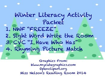 Winter Literacy Activity Packet- NWF, CVC, Rhyming, Sight