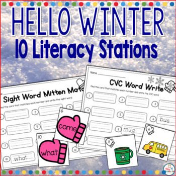 Hello Winter Literacy Stations-Everything you need to teach your students and meet the common core standards. This packet has 10 literacy stations covering skills such as sight words, CVC, syllables, vowels, word families, and so much more.