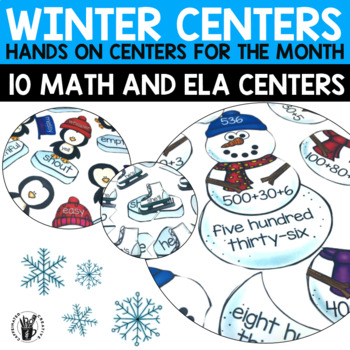 Winter Literacy and Math Centers for Second Grade