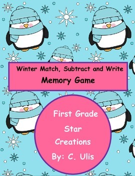 Winter Match ,Subtract, and Write Memory Game