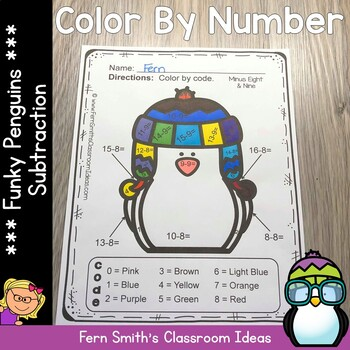 Color By Numbers Winter Math Funky Penguin Subtraction