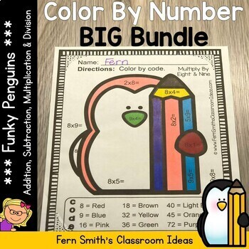 Color By Numbers Funky Penguins Addition Subtraction Multi