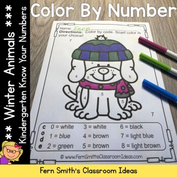 Color By Number Winter Animals Know Your Numbers