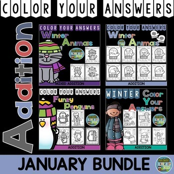Color By Number January Winter Math Addition Bundle