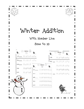 Winter Math Addition Packet with Number Line