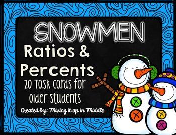 Winter Math Center:  Snowmen Ratios and Percents WORD PROB