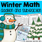 Winter Addition and Subtraction Math Centers and Worksheet