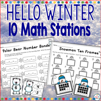 Hello Winter Math Stations-Everything you need to teach your students and meet the common core standards. This packet has 10 math stations covering skills such as addition, number bonds, tally marks, base ten, and so much more.