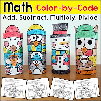 Winter Math Color by Code Characters: Polar Bear, Snowman,