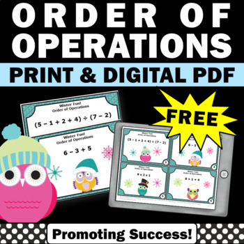 free winter math order of operations activities games 5th 6th grade