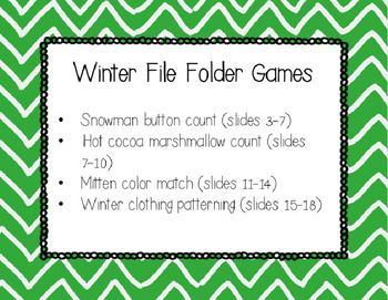 Winter Math File Folder Games