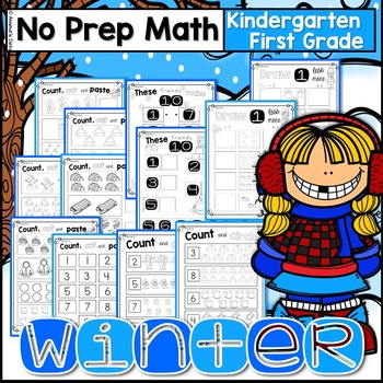 Winter Math Kindergarten - First Grade   ~No Prep~