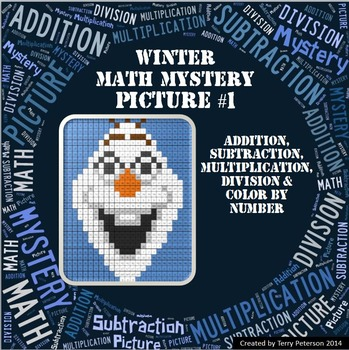 Winter Math Mystery Picture Addition Subtraction Multiplic