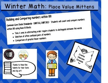 Winter Math:  Place Value Mittens