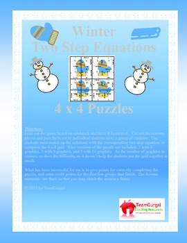 Winter Math Puzzle - Two Step Equations