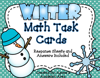 Winter Math Task Cards: Area/Perimeter and Fractions ~24 i