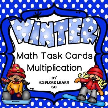 Winter Math Task Cards for Multiplication