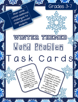 Winter Math Word Problem Task Cards