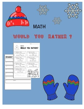 """Winter Math """"Would You Rather"""" Algebraic Expressions"""