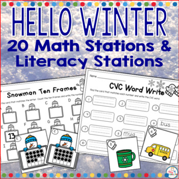 math and literacy centers for winter, kindergarten