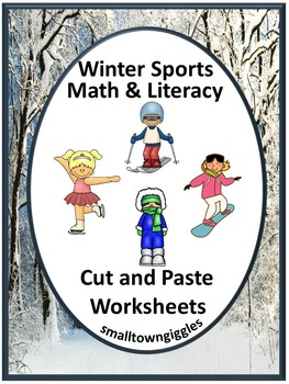Winter Sports Math and Literacy Cut and Paste Worksheets,