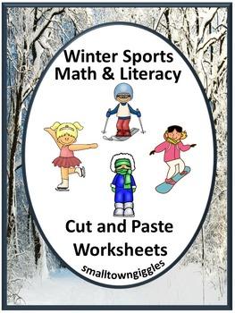 Winter Sports Activities NO PREP  Math and Literacy Cut an