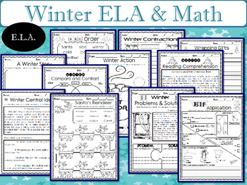 Winter Math and Literacy Packet NO PREP-1st Grade
