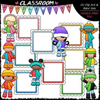 Winter Message Board Kids Clip Art - Winter Kids Frames