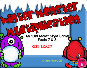 Winter Monster Multiplication Facts 7 & 8 3rd Grade