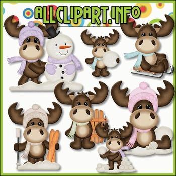 BUNDLED SET - Winter Moose 1 Clip Art & Digital Stamp Bundle