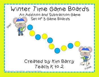 Game Boards - Addition and Subtraction Practice - Winter M