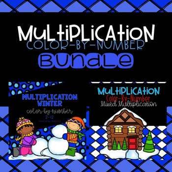 Winter Multiplication Color-By-Number Bundle