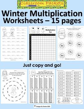 Winter Multiplication Worksheet Packet