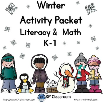 Winter No Prep Literacy and Math Activity Packet for K thr