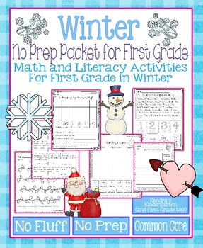 Winter No Prep Math and Literacy Packet for First Grade (C