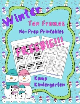 Winter No-Prep Printables Ten Frames FREEBIE (Quantities o