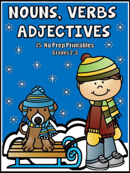 Nouns, Verbs and Adjectives - Winter Themed Printables