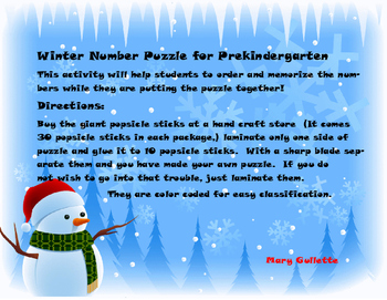 Winter Number Puzzle for Prekindergarten
