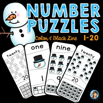 Number Puzzles (1-20)  Winter Theme