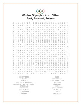 Winter Olympic Host Cities: Past, Present and Future Word Search
