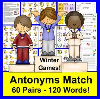 Winter Literacy Center Activities:  Olympic Antonyms Match