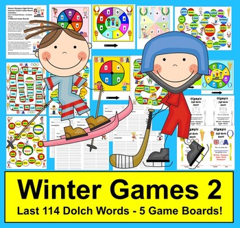 Winter Olympic Sight Words Game Boards - last 114 Dolch -