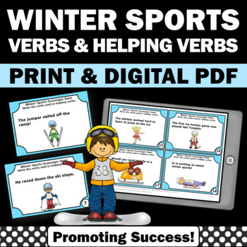 Verbs and Helping Verbs Task Cards Winter Olympic Sports G