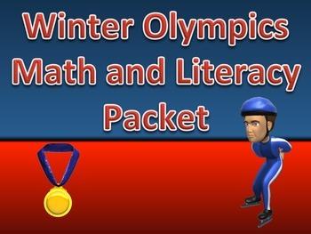 Winter Olympics Math and ELA Worksheet Packet with Keys