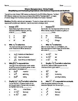 Winter Olympics Puzzle - Rational Exponents and Radical Ex