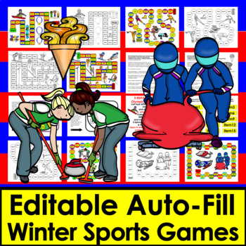 Winter Olympic Sight Words Game Boards - first 106 Dolch -