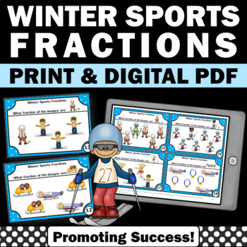 Winter Math Sports Fractions with Visual Models 3rd Grade