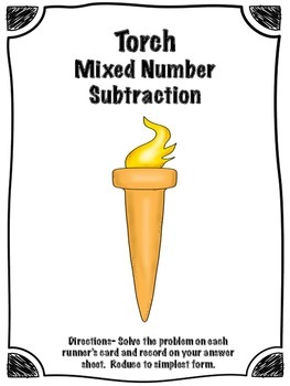 Winter Sports Torch Mixed Number Subtraction Math Center (