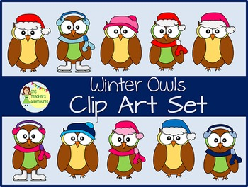 Winter Owls Clip Art Set - 14 images for personal or comme