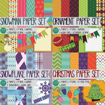 Digital Paper and Frame Bundle- Winter and Christmas
